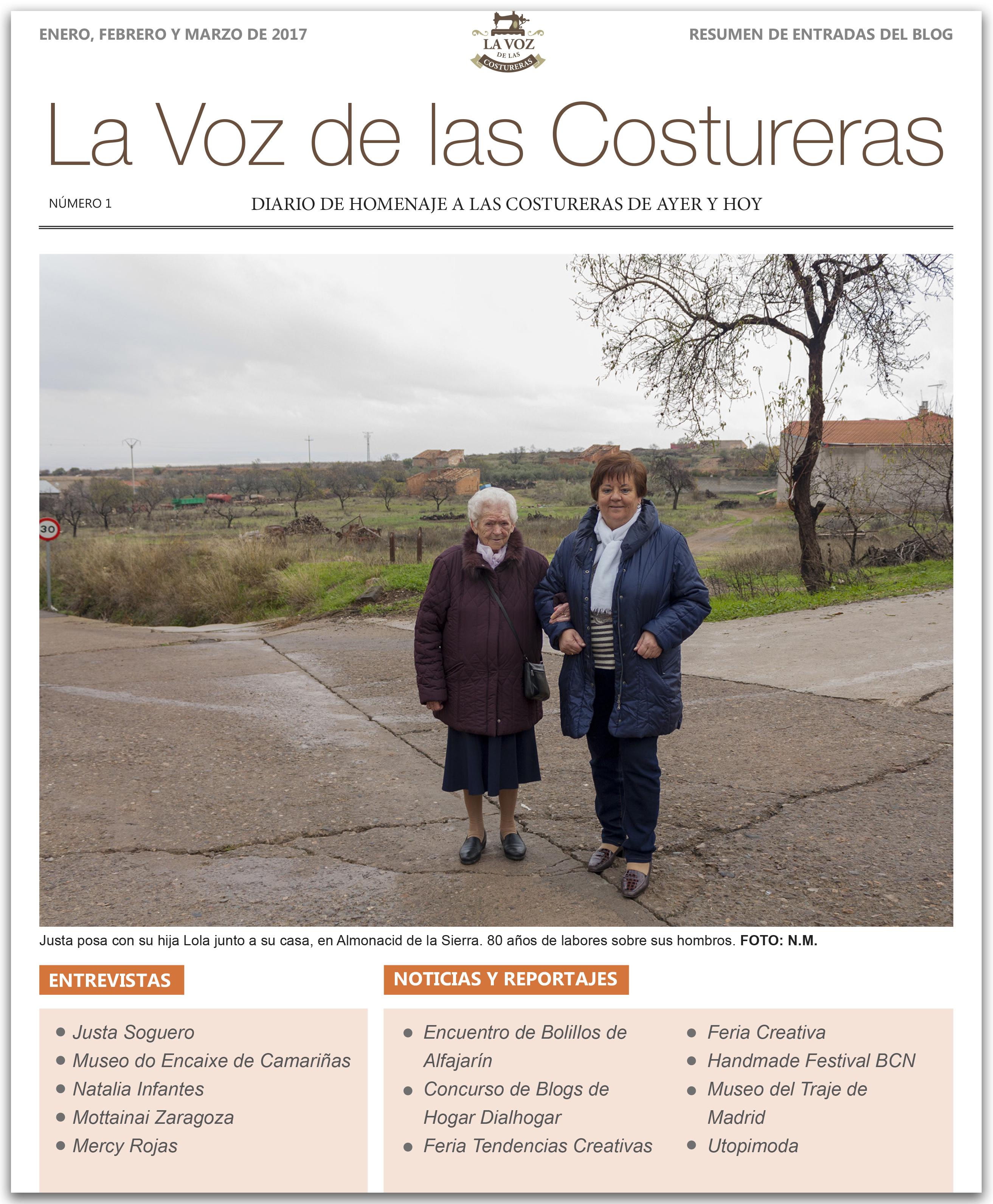 La Voz de las Costureras, resumen post 1º trimestre 2017 en www.blurb.es