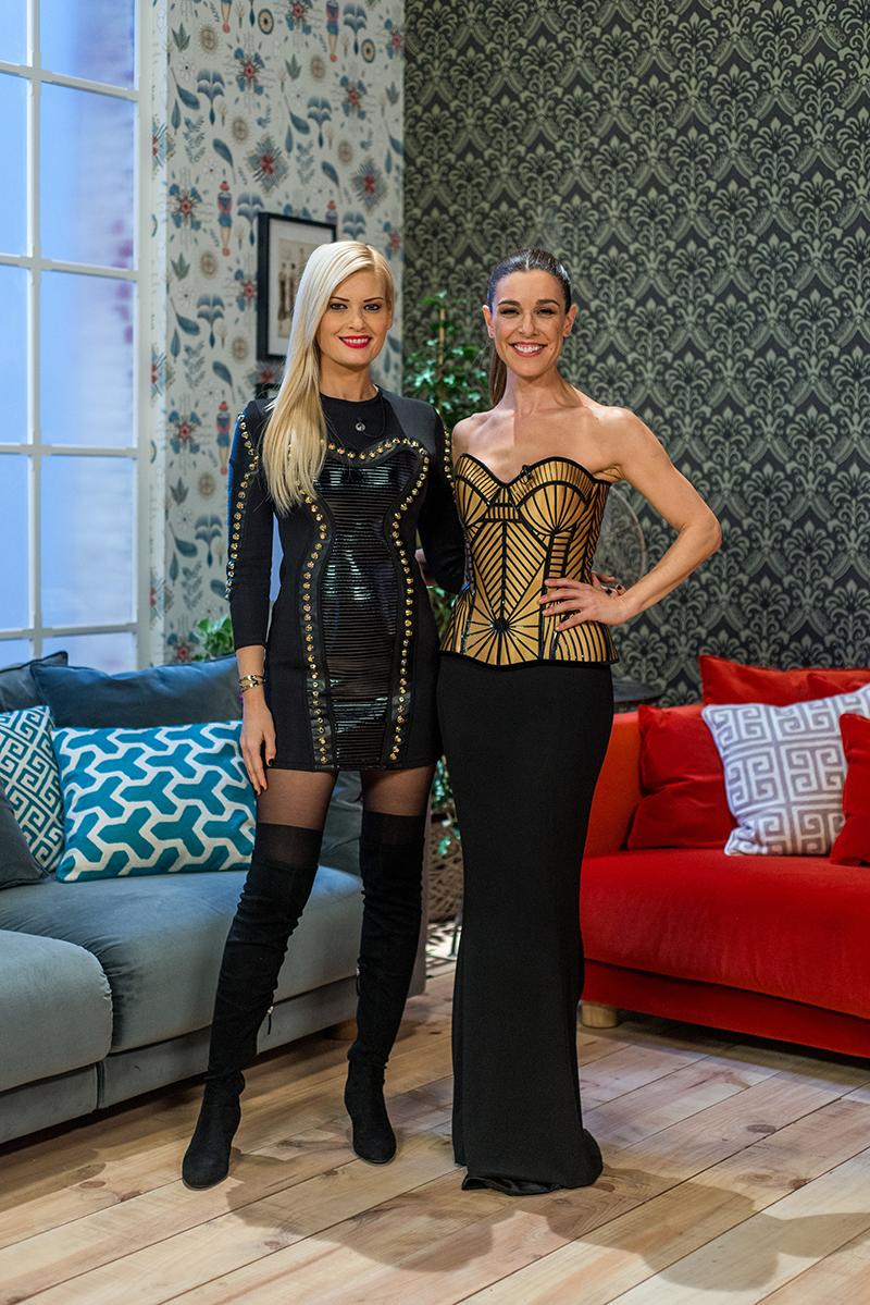 Maya Hansen con la presentadora del programa, Raquel Sanchez Silva. Foto, Shine Iberia.