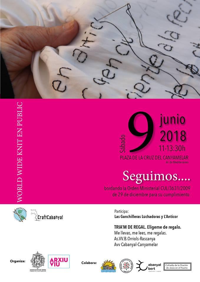 Craft cabanyal (Valencia) cartel en el Día Mundial de Tejer en público 2018