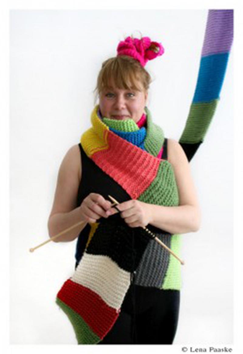 Astrid Salling, organizadora del Dia Mundial de Tejer en Público. Foto Lena Paaske