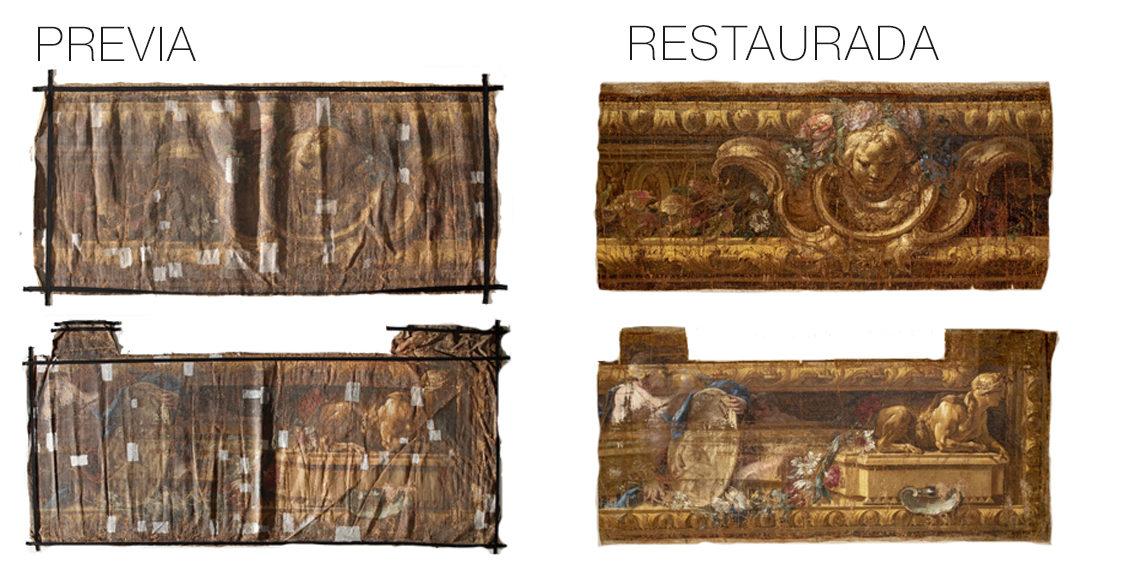 La Real Fábrica de Tapices logra recuperar cuatro cartones en muy mal estado de conservación