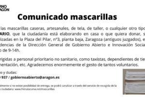 Covid-19: cómo enviar mascarillas caseras de tela en Zaragoza